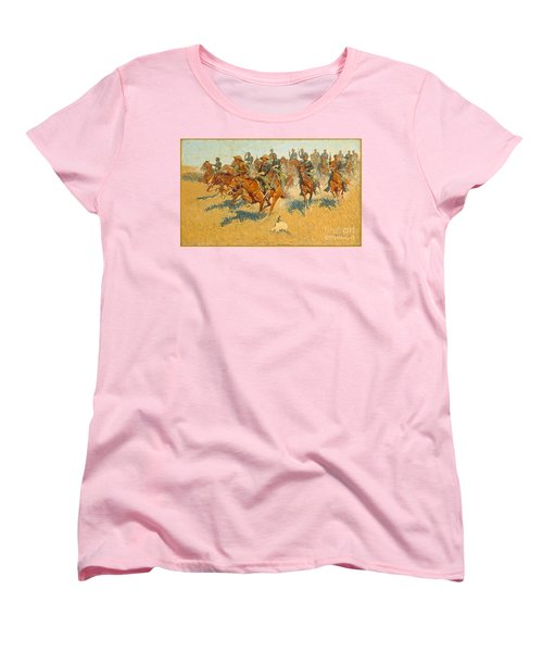Women's T-Shirt (Standard Cut) featuring the photograph On The Southern Plains Frederic Remington by John Stephens