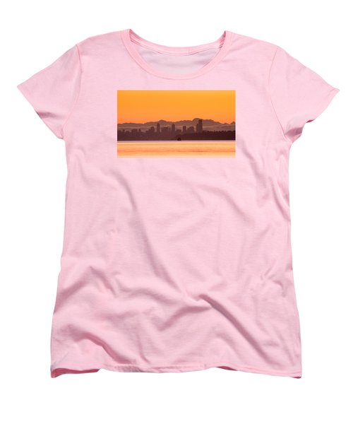Seattle Skyline In Orange Women's T-Shirt (Standard Cut) by E Faithe Lester