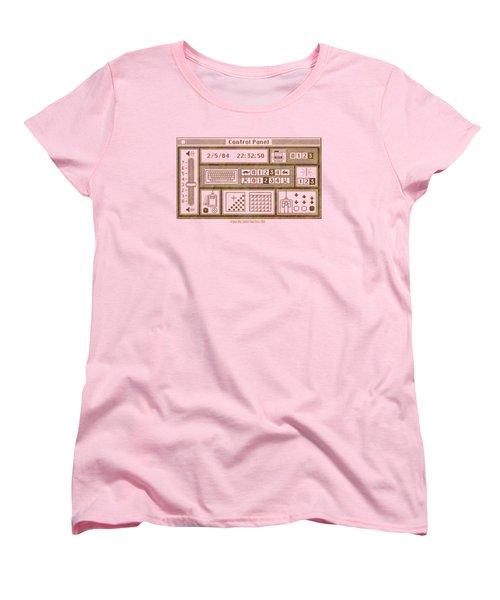 Original Mac Computer Control Panel Circa 1984 Women's T-Shirt (Standard Cut) by Design Turnpike