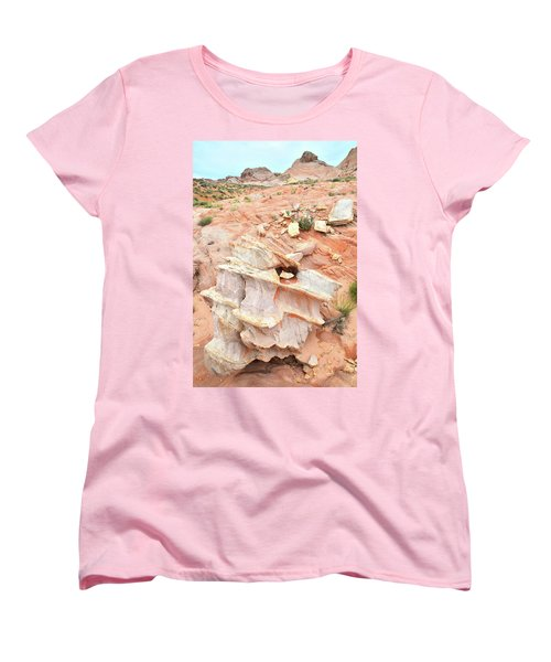 Women's T-Shirt (Standard Cut) featuring the photograph Ornate Rock In Wash 4 Of Valley Of Fire by Ray Mathis