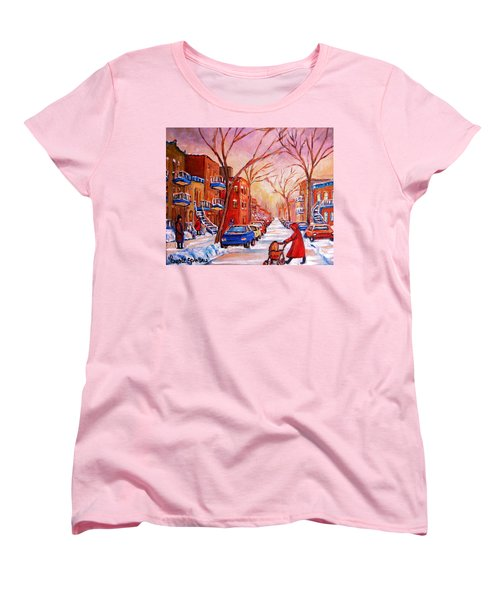 Out For A Walk With Mom Women's T-Shirt (Standard Cut) by Carole Spandau