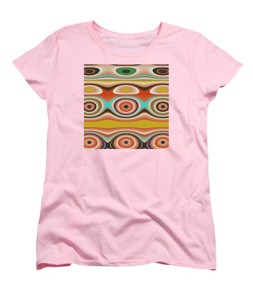 Ovals And Circles Pattern Design Women's T-Shirt (Standard Cut) by Jessica Wright