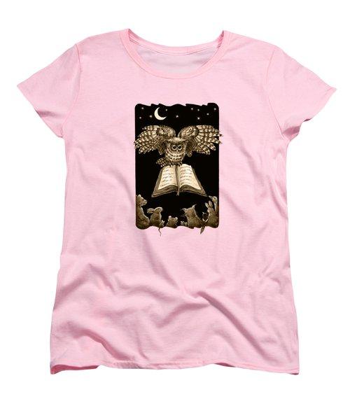 Owl And Friends Sepia Women's T-Shirt (Standard Cut) by Retta Stephenson