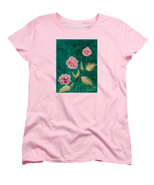 Painted Roses Women's T-Shirt (Standard Cut) by Donna Brown