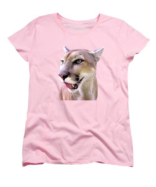 Panther Portrait Transparent Women's T-Shirt (Standard Cut) by Sabrina Wheeler