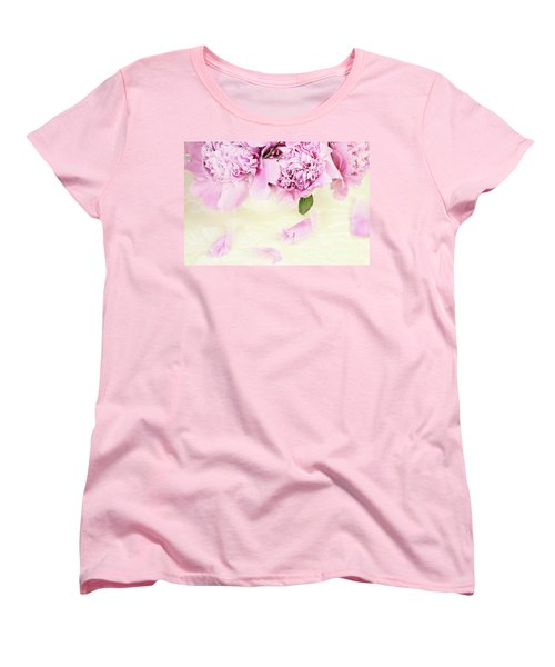 Pastel Pink Peonies  Women's T-Shirt (Standard Cut) by Stephanie Frey