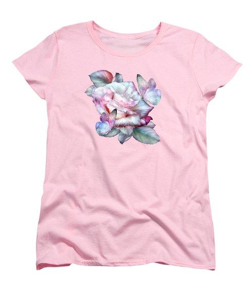 Pastel Rose And Butterflies Women's T-Shirt (Standard Cut) by Carol Cavalaris