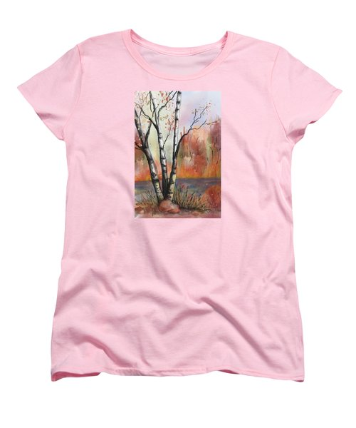 Women's T-Shirt (Standard Cut) featuring the painting Peaceful River by Annette Berglund