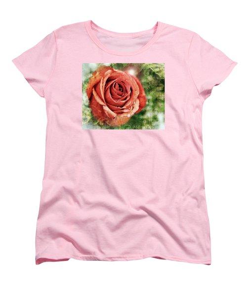 Peach Rose Women's T-Shirt (Standard Cut) by Sennie Pierson
