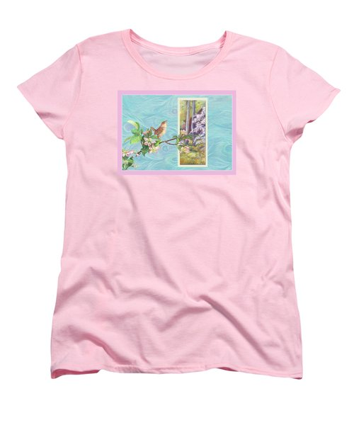 Peacock And Cherry Blossom With Wren Women's T-Shirt (Standard Cut) by Judith Cheng