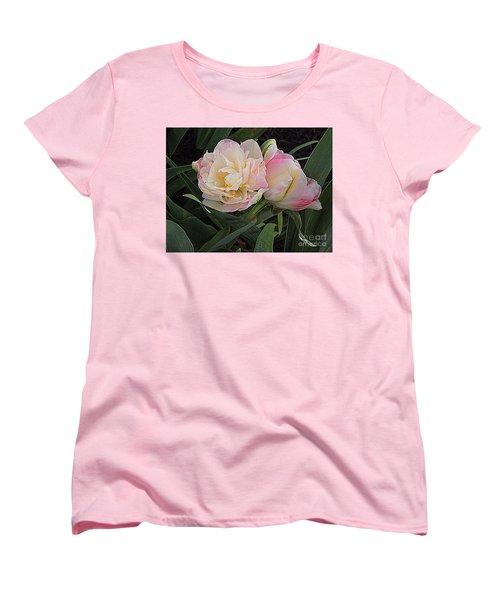 Peony Tulip Duet Women's T-Shirt (Standard Cut) by Nancy Kane Chapman