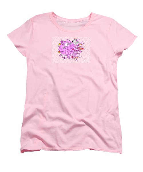 Women's T-Shirt (Standard Cut) featuring the drawing Pen And Ink Colorful Cat Drawing by Saribelle Rodriguez