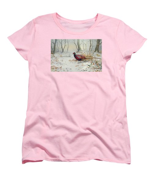 Pheasants In Snow Women's T-Shirt (Standard Cut) by Carl Donner