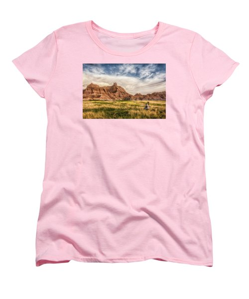 Photographer Waiting For The Badlands Light Women's T-Shirt (Standard Cut) by Rikk Flohr