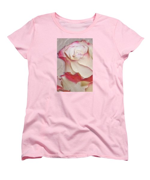 Pink And White Rose Women's T-Shirt (Standard Cut) by Sandra Foster