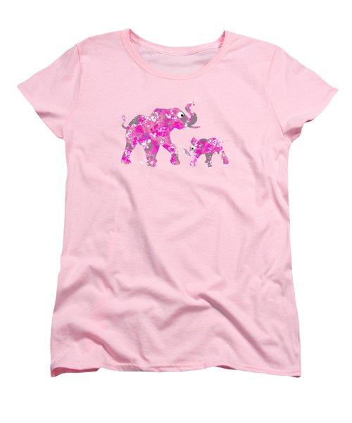 Pink Elephants Women's T-Shirt (Standard Cut) by Christina Rollo