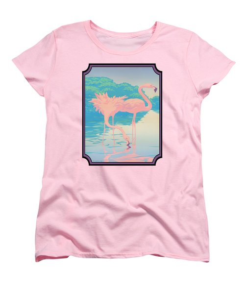 Pink Flamingos Abstract Retro Pop Art Nouveau Tropical Bird Art 80s 1980s Florida Decor Women's T-Shirt (Standard Cut) by Walt Curlee