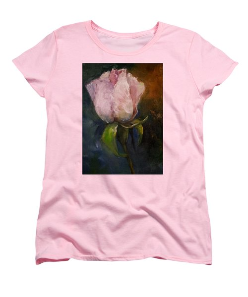 Pink Floral Bud Women's T-Shirt (Standard Cut) by Michele Carter