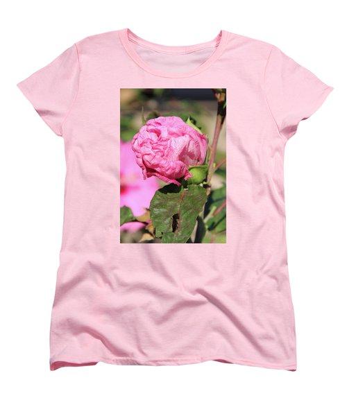 Pink Hibiscus Bud Women's T-Shirt (Standard Cut) by Inspirational Photo Creations Audrey Woods