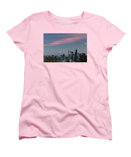 Pink Highlights Over Seattle-mt. Rainier Women's T-Shirt (Standard Cut) by E Faithe Lester