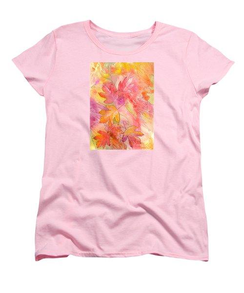 Pink Leaves Women's T-Shirt (Standard Cut) by Nancy Cupp