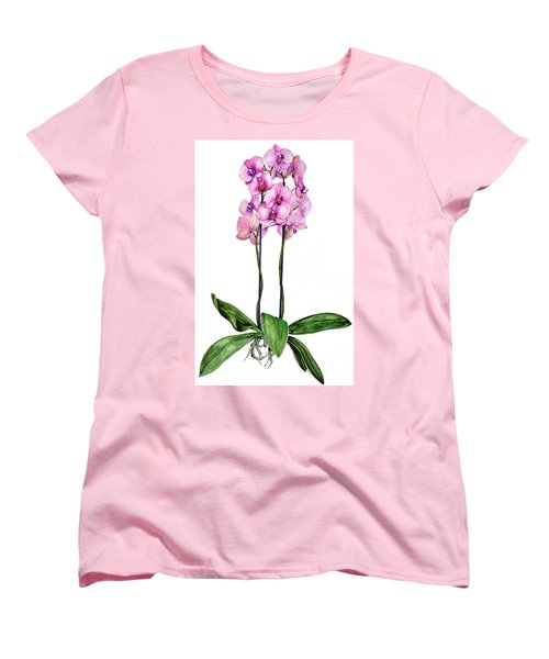 Women's T-Shirt (Standard Cut) featuring the painting Pink Orchids by Heidi Kriel