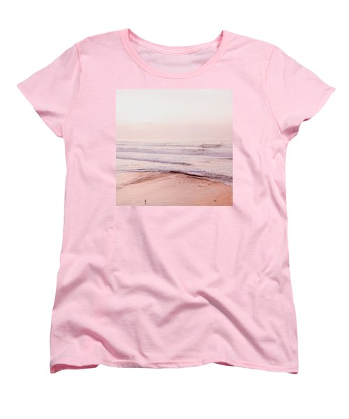 Women's T-Shirt (Standard Cut) featuring the photograph Pink Pacific Beach by Bonnie Bruno