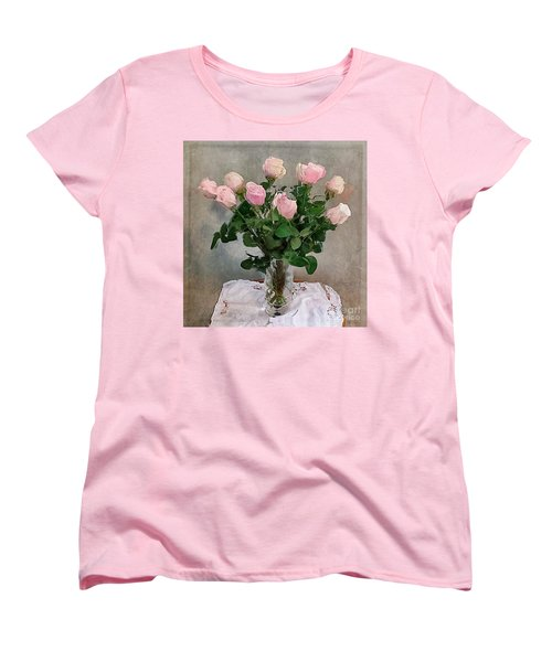 Pink Roses Women's T-Shirt (Standard Cut) by Alexis Rotella