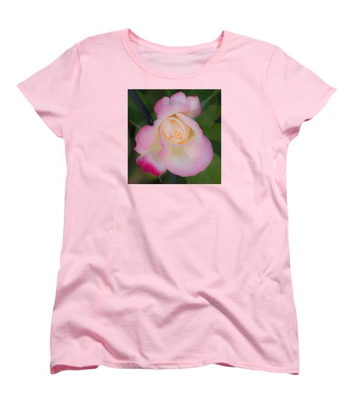 Women's T-Shirt (Standard Cut) featuring the photograph Pink Tinged Rose by Cathy Donohoue