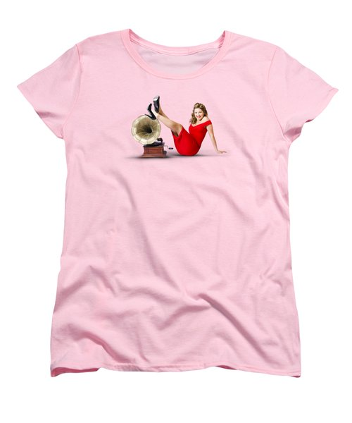 Pinup Girl In Red Dress Playing Classical Music Women's T-Shirt (Standard Cut)