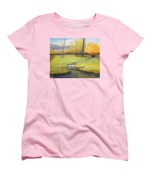Placid Stream In Field Women's T-Shirt (Standard Cut) by Sherril Porter