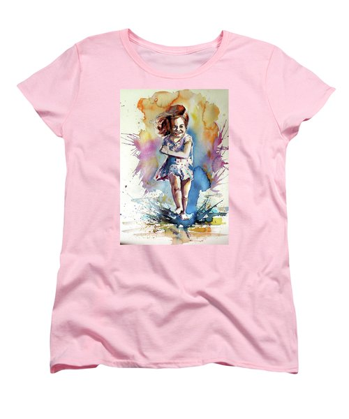 Women's T-Shirt (Standard Cut) featuring the painting Playing Girl by Kovacs Anna Brigitta
