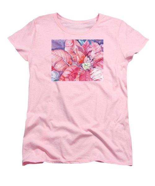 Poinsettia Glory Women's T-Shirt (Standard Cut) by Mary Haley-Rocks