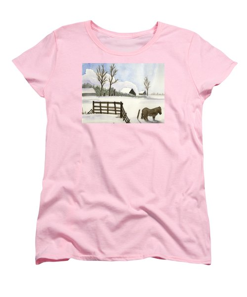 Women's T-Shirt (Standard Cut) featuring the painting Pony In The Snow by Annemeet Hasidi- van der Leij