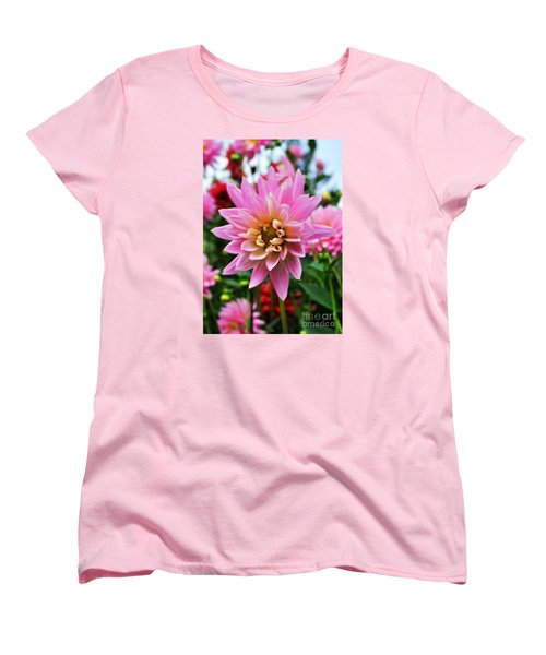 Pretty Pink Dahlia  Women's T-Shirt (Standard Cut) by Mindy Bench