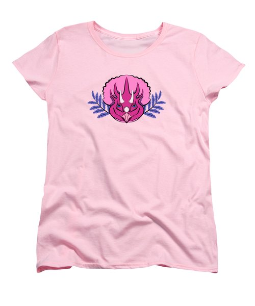Pretty Pink Triceratops Women's T-Shirt (Standard Cut) by MM Anderson