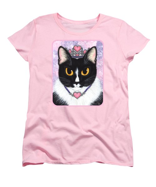 Women's T-Shirt (Standard Cut) featuring the painting Princess Fiona -tuxedo Cat by Carrie Hawks
