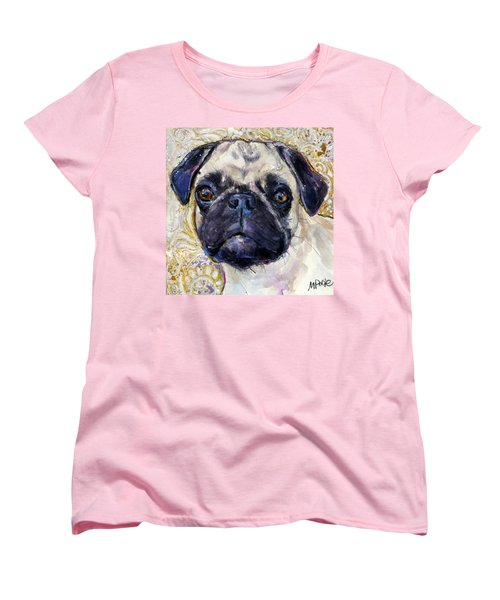 Women's T-Shirt (Standard Cut) featuring the painting Pug Mug by Molly Poole