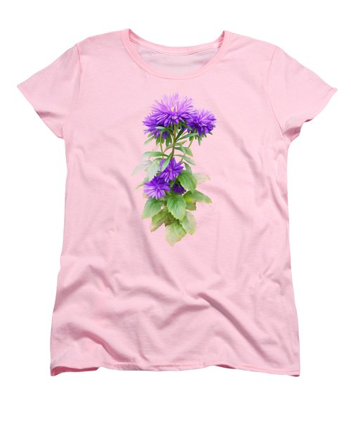 Purple Aster Women's T-Shirt (Standard Cut) by Ivana