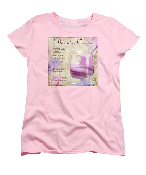 Purple Cow Mixed Cocktail Recipe Sign Women's T-Shirt (Standard Cut) by Mindy Sommers