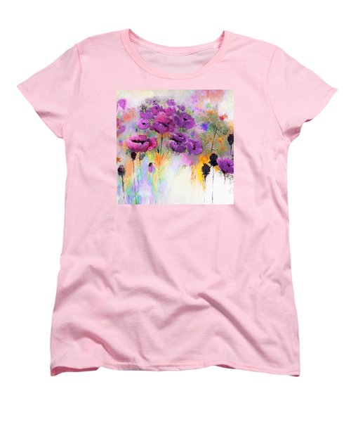 Purple Poppy Passion Painting Women's T-Shirt (Standard Cut) by Lisa Kaiser