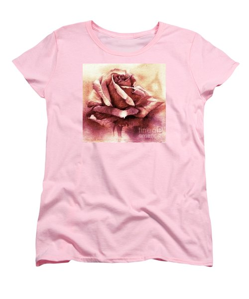 Women's T-Shirt (Standard Cut) featuring the painting Purple Rose by Sandra Phryce-Jones