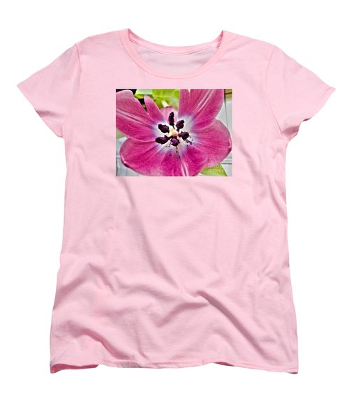 Women's T-Shirt (Standard Cut) featuring the photograph Purple Tulip by Nina Ficur Feenan