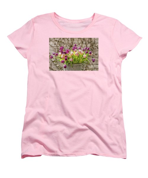 Women's T-Shirt (Standard Cut) featuring the photograph Purple Tulips In A Bucket by Patricia Hofmeester