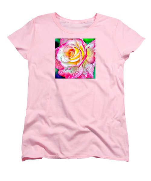 Women's T-Shirt (Standard Cut) featuring the digital art Radiant Rose Of Peace by Charmaine Zoe