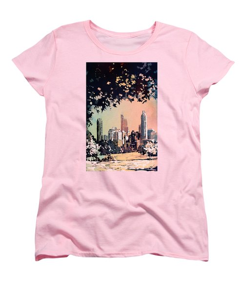 Women's T-Shirt (Standard Cut) featuring the painting Raleigh Skyline V by Ryan Fox