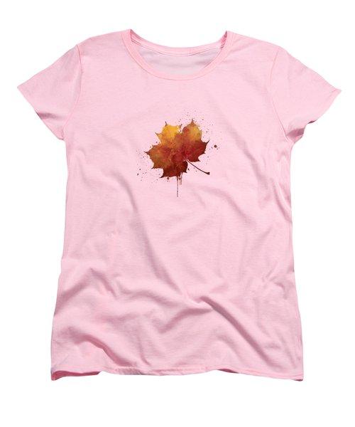 Red Autumn Leaf Women's T-Shirt (Standard Cut) by Thubakabra