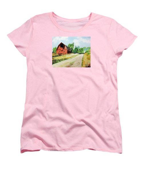 Red Barn Near Steamboat Springs Women's T-Shirt (Standard Cut) by Tom Riggs