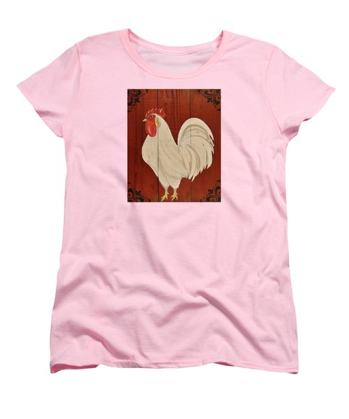 Women's T-Shirt (Standard Cut) featuring the painting Red Barnyard Rooster by Cindy Micklos