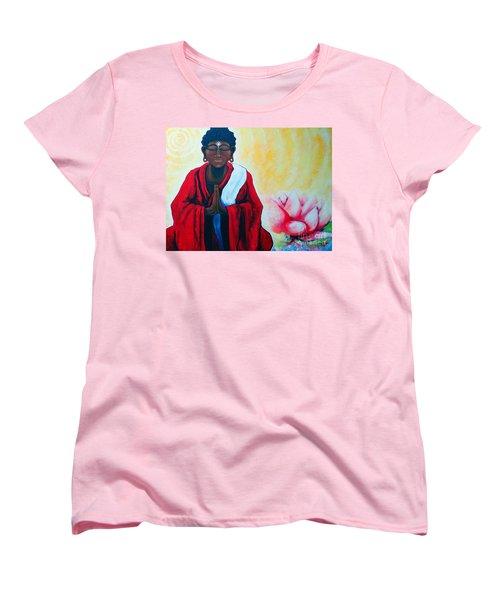 Red Buddha Lotus Women's T-Shirt (Standard Cut) by Jackie Carpenter